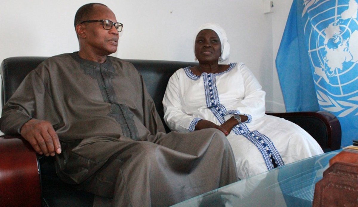 The SRSG Ibn Chambas meet with Dr. Saran Daraban Kaba, SG of MRU