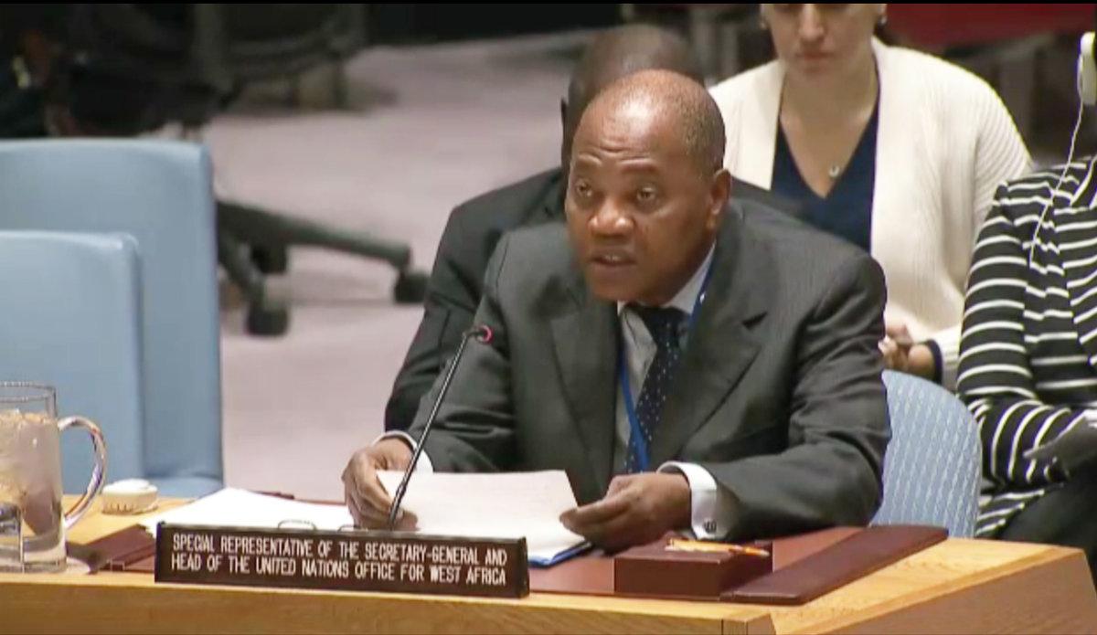 Mohammed Ibn Chambas, Représentant Spécial du Secrétaire général et Chef du Bureau des Nations Unies pour l'Afrique de l'Ouest et le Sahel (UNOWAS), fait son briefing au Conseil de Sécurité. 13 Janvier 2017. Nations Unies, New York.