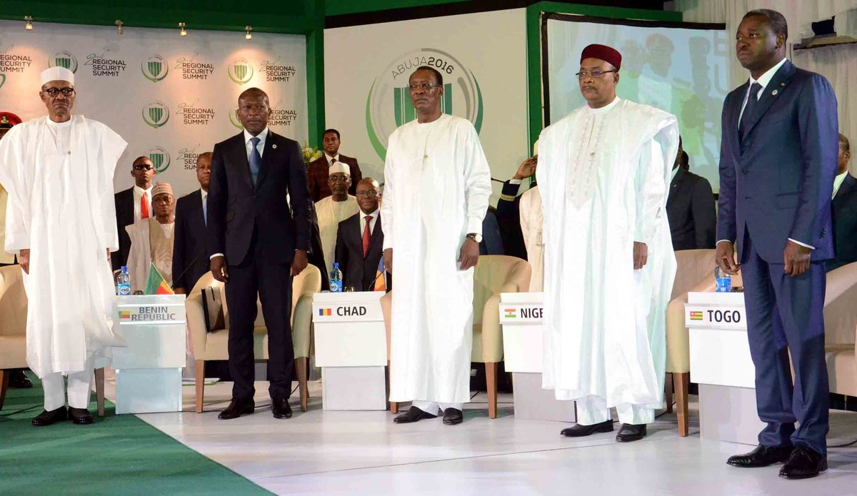 Presidents of Nigeria, Benin, Chad, Mali and Togo at the Second Regional Security Summit, 14 May 2016 in Abuja