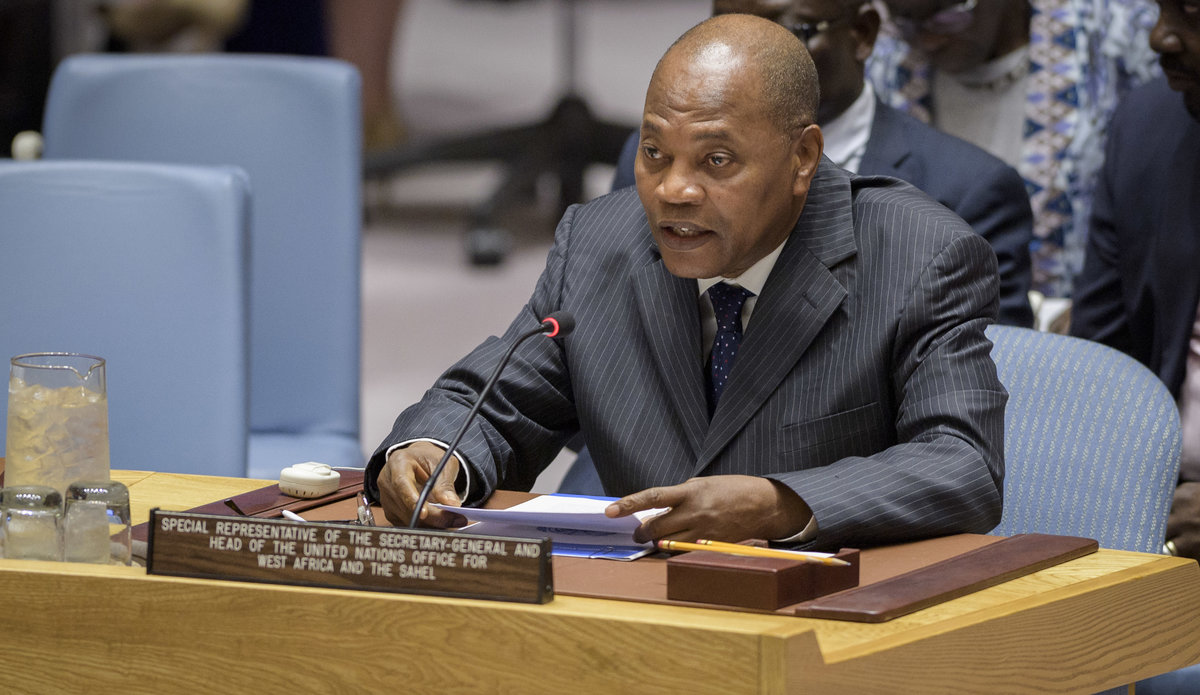 Mohamed Ibn Chambas, Special Representative of the Secretary-General and Head of the United Nations Office for West Africa and the Sahel (UNOWAS), briefs the Security Council meeting on peace consolidation in West Africa.