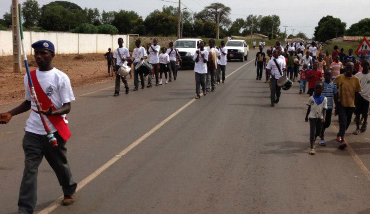 A marching band in Farafenni, a market town in The Gambia, just south of the border with Senegal. UNFPA The Gambia