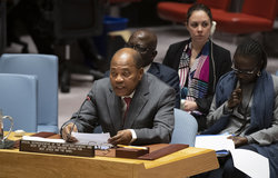 Mohamed Ibn Chambas, Special Representative of the Secretary-General and Head of the United Nations Office for West Africa and the Sahel, briefs the Security Council meeting on peace consolidation in West Africa and the Sahel. New York - 8 Jan 2020.